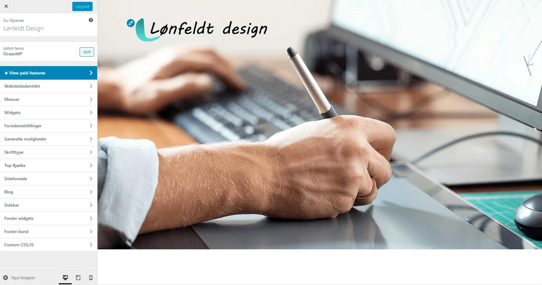 Opsætning af design på en hjemmeside - farver skrifttyper skriftstørrelser logo ikon sidelayout menu