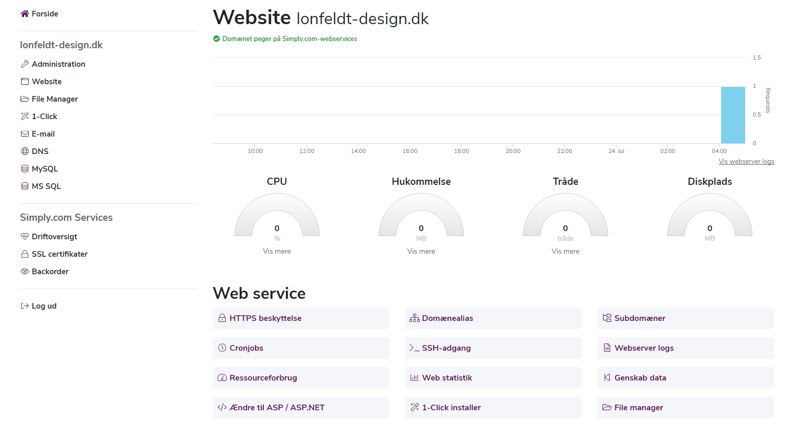 Webhosting muligheder for styring af en hjemmeside
