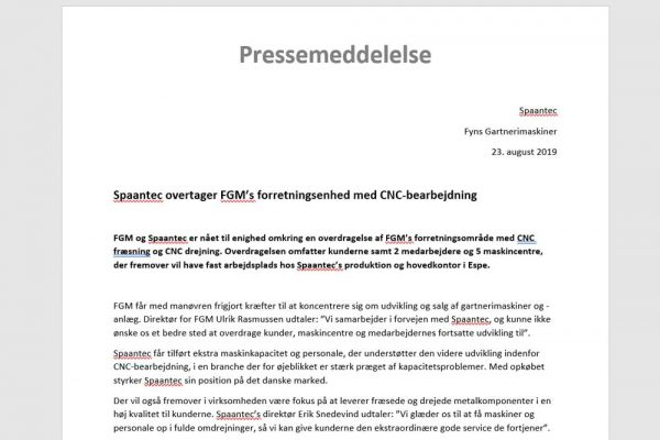 FGM og Spaantec pressemeddelelser der giver massivt øget trafik til hjemmesiden